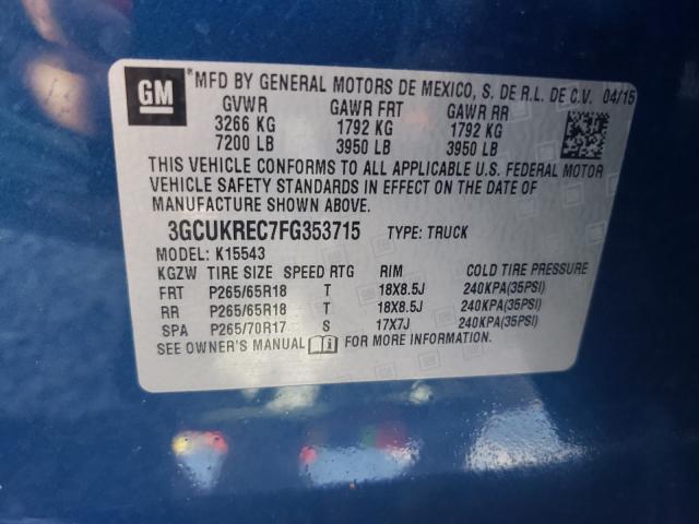 3GCUKREC7FG353715 2015 CHEVROLET SILVERADO K1500 LT
