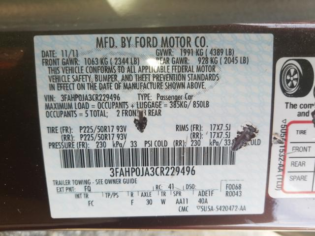 2012 FORD FUSION SEL 3FAHP0JA3CR229496
