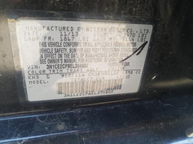 3N1CE2CP8EL394802 2014 Nissan Versa Note 1.6L
