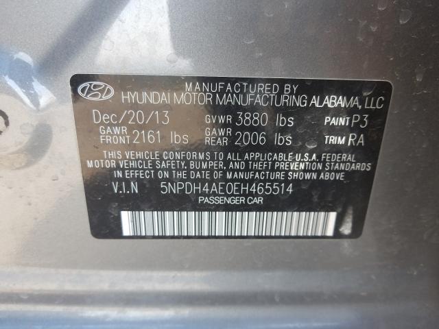 5NPDH4AE0EH465514 2014 Hyundai Elantra Se 1.8L