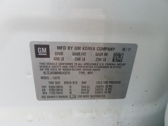 KL7CJKSB8HB243279 2017 Chevrolet Trax Ls 1.4L