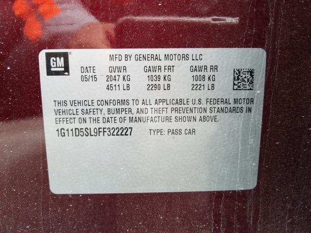 1G11D5SL9FF322227 2015 Chevrolet Malibu 2Lt 2.5L