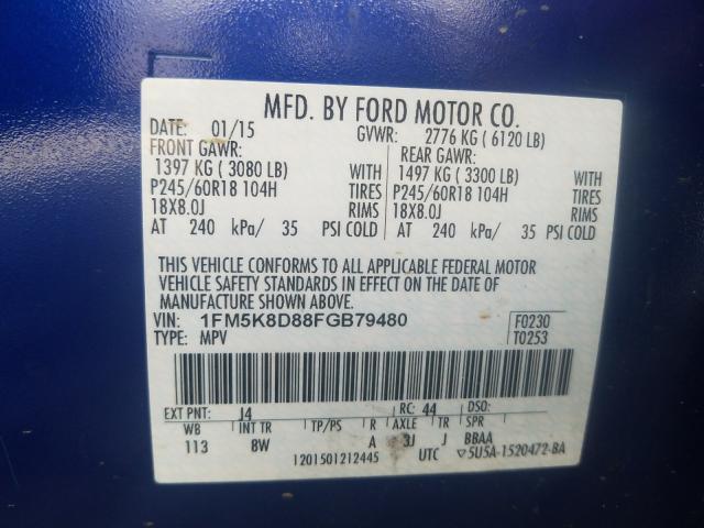 2015 Ford EXPLORER | Vin: 1FM5K8D88FGB79480