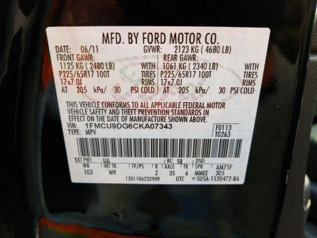 2012 FORD ESCAPE XLT 1FMCU9DG6CKA07343