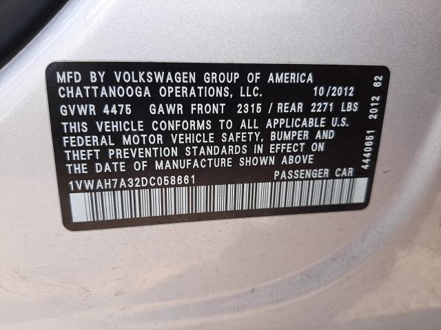 2013 Volkswagen PASSAT   Vin: 1VWAH7A32DC058661