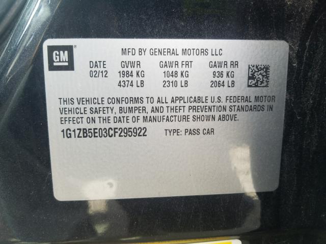 2012 CHEVROLET MALIBU LS 1G1ZB5E03CF295922
