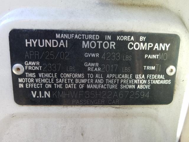 salvage title 2002 hyundai sonata sedan 4d 2 7l for sale in montgomery al 51183620 a better bid car auctions