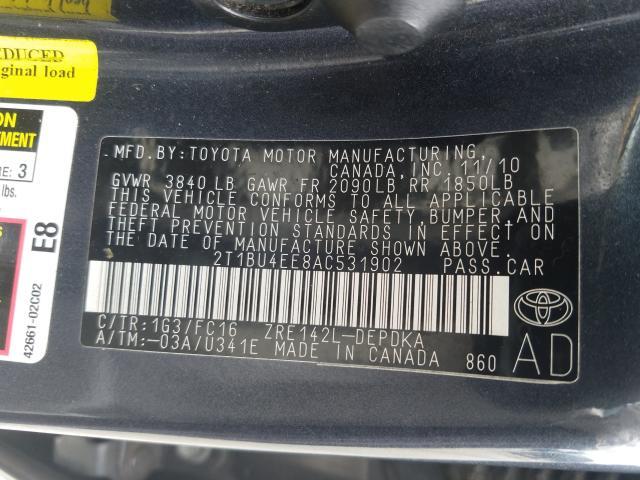 2010 Toyota COROLLA   Vin: 2T1BU4EE8AC531902