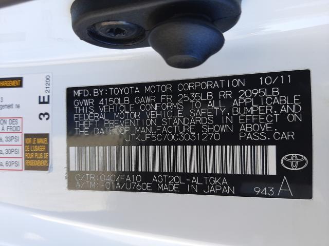 JTKJF5C70C3031270 2012 Toyota Scion Tc 2.5L