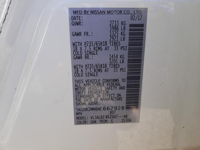 5N1DR2MN6HC667928 2017 Nissan Pathfinder 3.5L