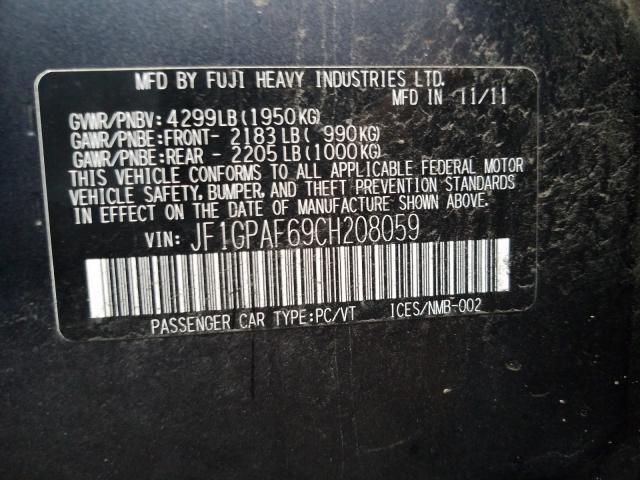 2012 Subaru IMPREZA | Vin: JF1GPAF69CH208059