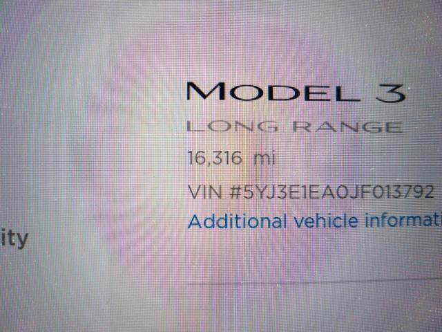2018 Tesla MODEL 3   Vin: 5YJ3E1EA0JF013792