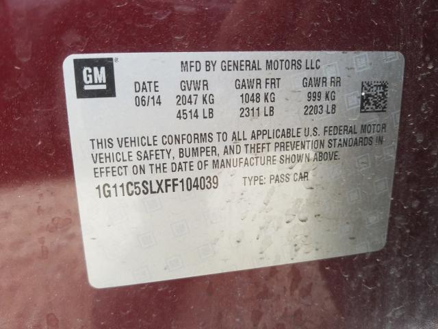 1G11C5SLXFF104039 2015 Chevrolet Malibu 1Lt 2.5L