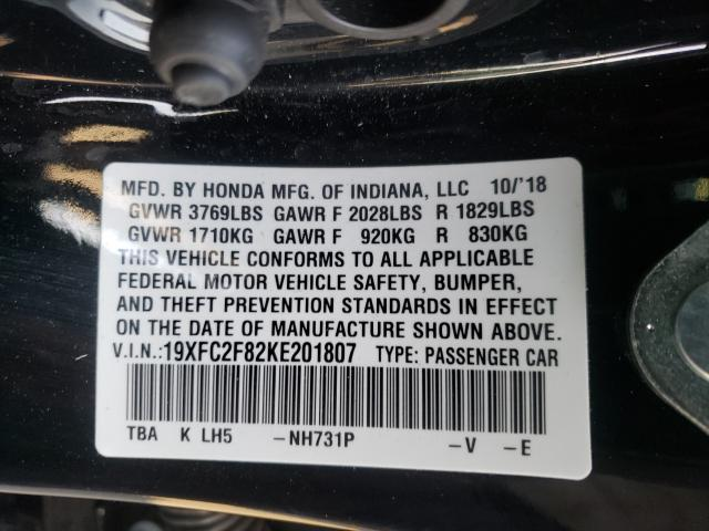 19XFC2F82KE201807 2019 Honda Civic Spor 2.0L