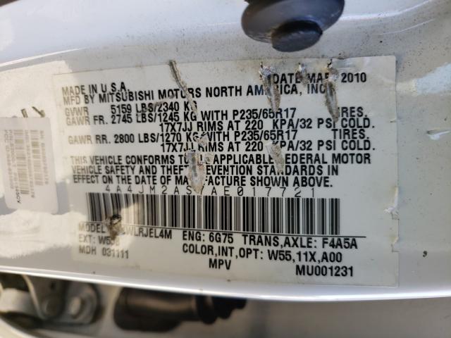 2010 Mitsubishi ENDEAVOR | Vin: 4A4JM2AS7AE017721