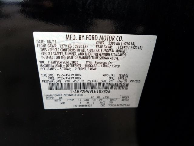 2012 FORD TAURUS SEL 1FAHP2EW9CG102826