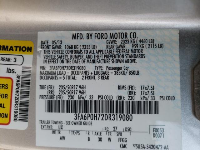 2013 FORD FUSION SE 3FA6P0H72DR319080