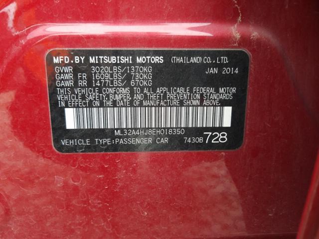 2014 Mitsubishi MIRAGE   Vin: ML32A4HJ8EH018350