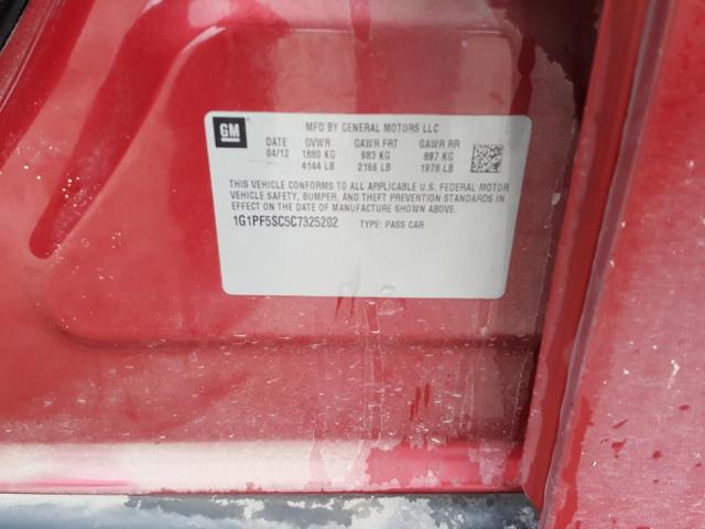 2012 CHEVROLET CRUZE LT 1G1PF5SC5C7325202