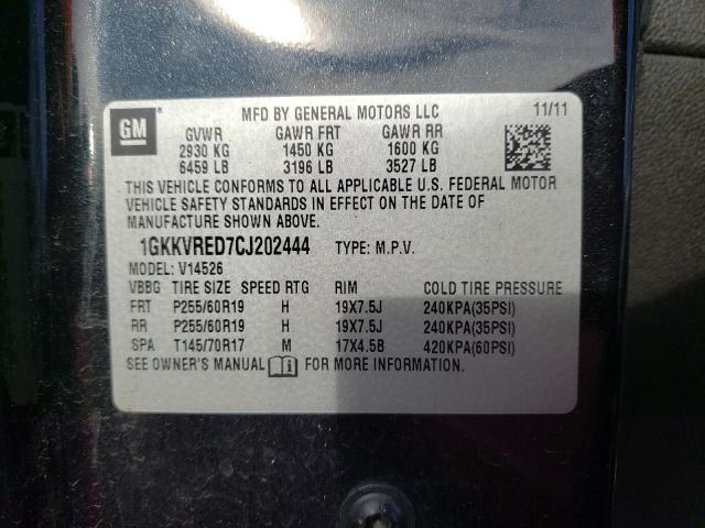 2012 GMC ACADIA SLT 1GKKVRED7CJ202444