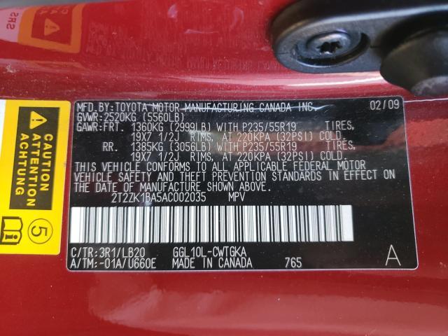 2T2ZK1BA5AC002035 2010 Lexus Rx350 3.5L