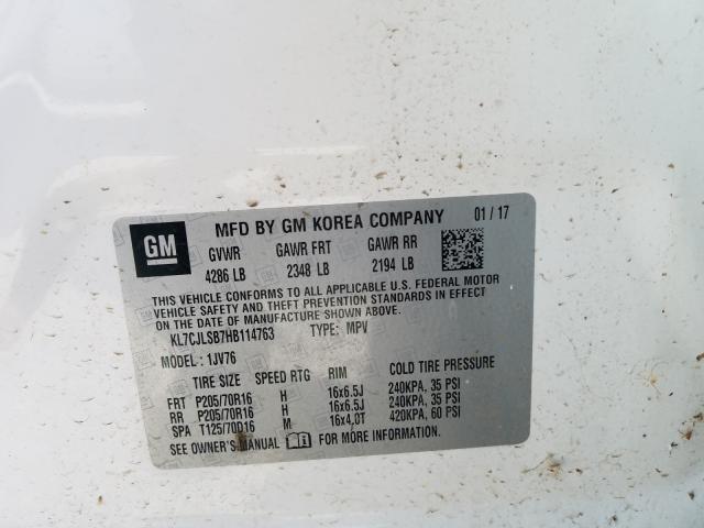 KL7CJLSB7HB114763 2017 Chevrolet Trax 1Lt 1.4L