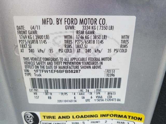 1FTFW1EF6BFB58287 2011 Ford F150 Super 5.0L