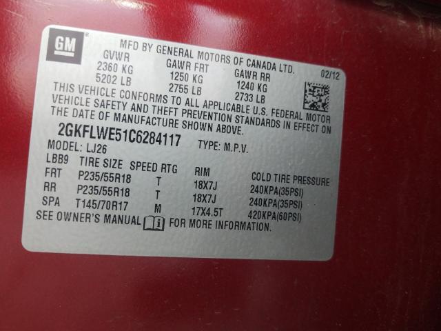 2012 GMC TERRAIN SL 2GKFLWE51C6284117