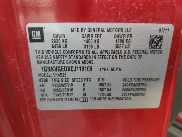1GNKVGEDXCJ118108 2012 Chevrolet Traverse L 3.6L