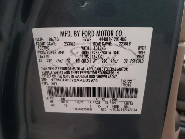 1FMCU0C72AKD33974 2010 Ford Escape Xls 2.5L