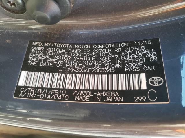 2015 Toyota PRIUS   Vin: JTDKN3DU6F2003345