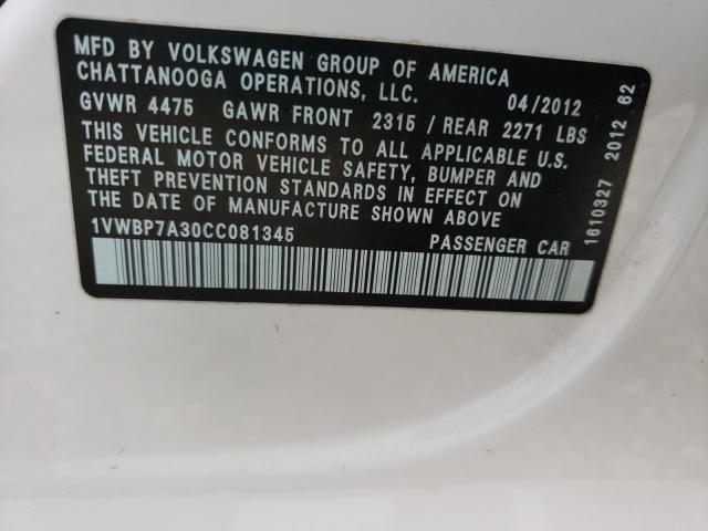 2012 VOLKSWAGEN PASSAT SE 1VWBP7A30CC081345