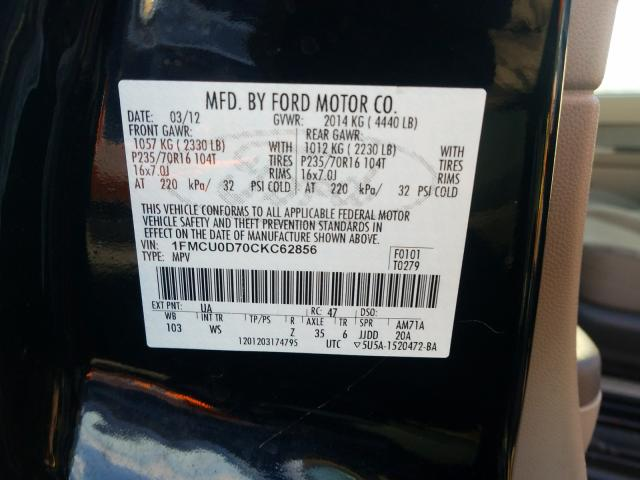 1FMCU0D70CKC62856 2012 Ford Escape Xlt 2.5L