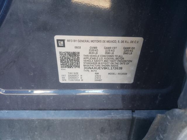 3GNAXUEV8KL172639 2019 Chevrolet Equinox Lt 1.5L
