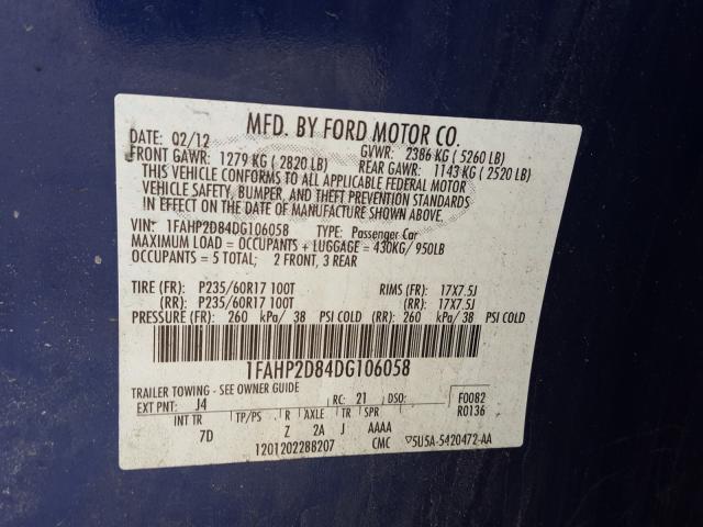 2013 FORD TAURUS SE 1FAHP2D84DG106058