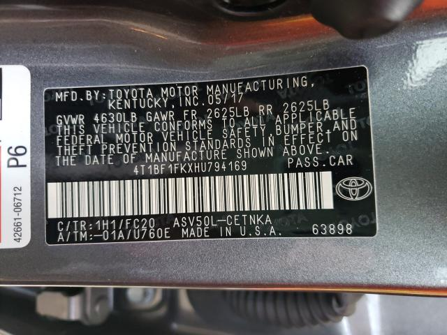 4T1BF1FKXHU794169 2017 Toyota Camry Le 2.5L