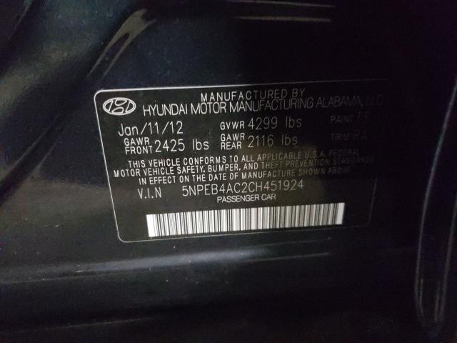 5NPEB4AC2CH451924 2012 Hyundai Sonata Gls 2.4L