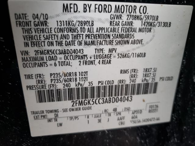 2FMGK5CC3ABD04043 2010 Ford Flex Sel 3.5L