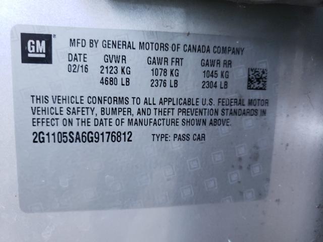 2016 Chevrolet IMPALA | Vin: 2G1105SA6G9176812