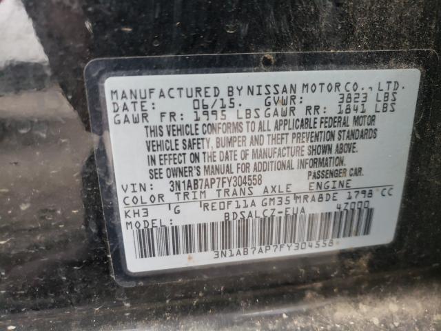 3N1AB7AP7FY304558 2015 Nissan Sentra S 1.8L