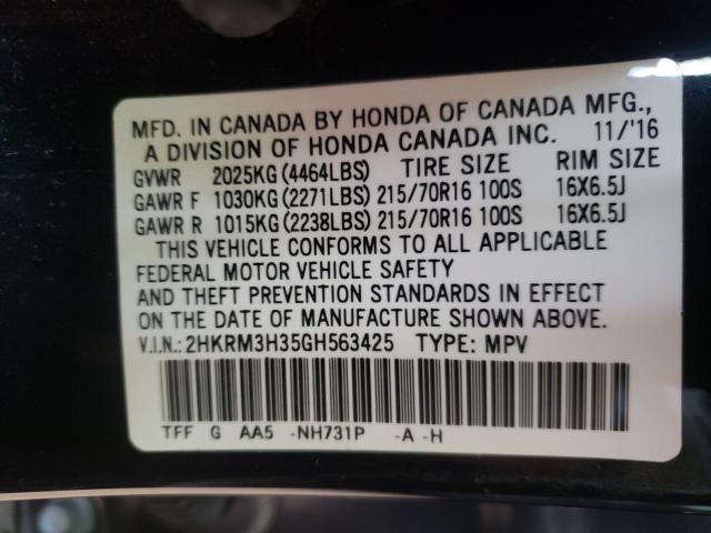 2HKRM3H35GH563425 2016 Honda Cr-V Lx 2.4L