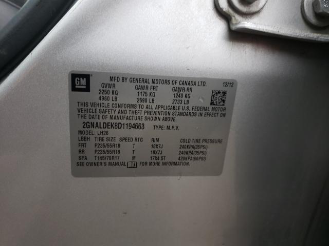 2GNALDEK8D1194663 2013 Chevrolet Equinox Lt 2.4L