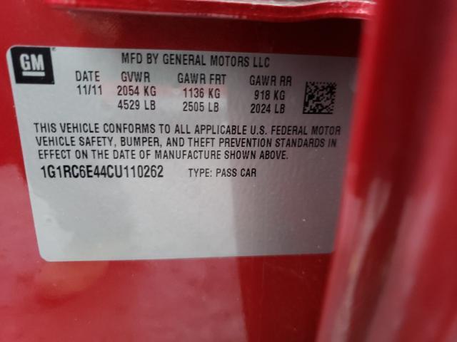 2012 CHEVROLET VOLT 1G1RC6E44CU110262