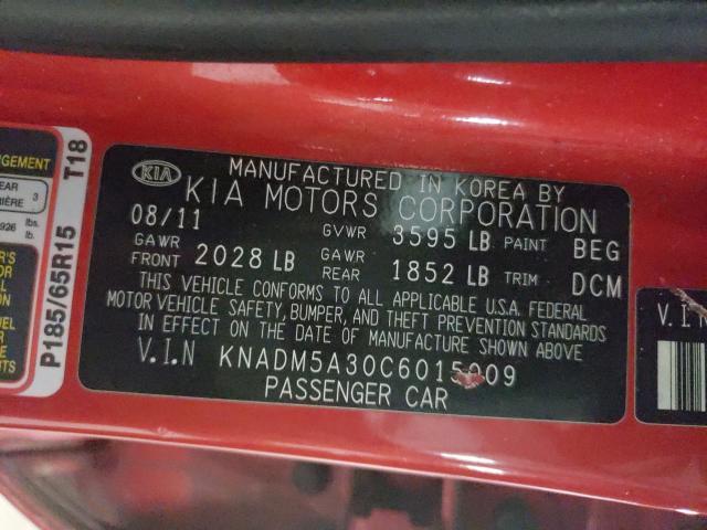 2012 KIA RIO LX KNADM5A30C6015009