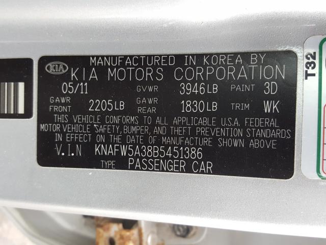 KNAFW5A38B5451386 2011 Kia Forte Sx 2.4L