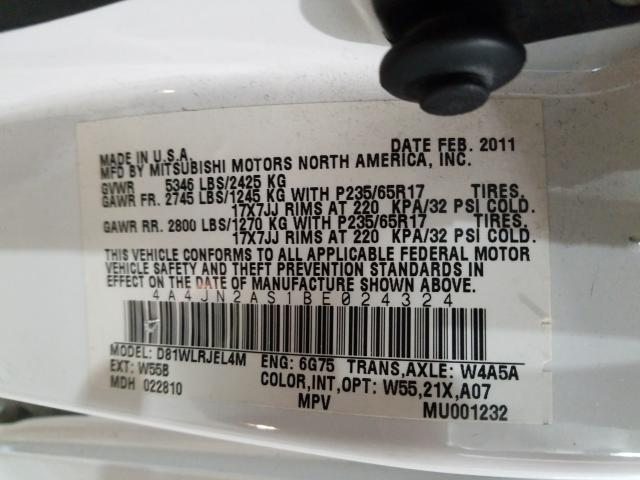 2011 Mitsubishi ENDEAVOR   Vin: 4A4JN2AS1BE024324