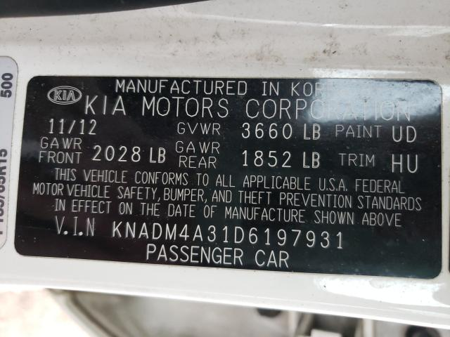 KNADM4A31D6197931 2013 Kia Rio Lx 1.6L