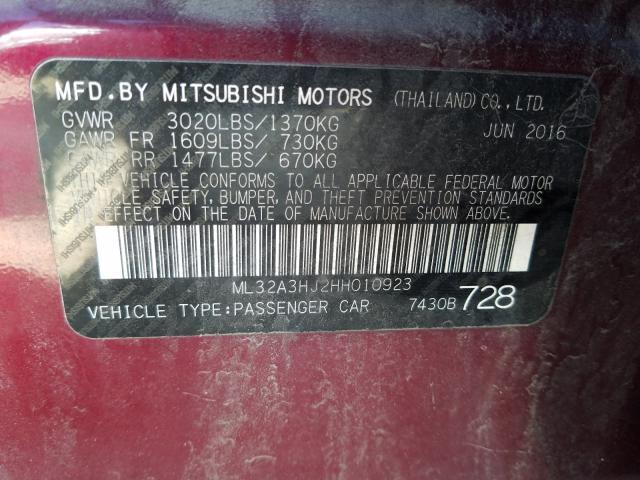 2017 MITSUBISHI MIRAGE ES ML32A3HJ2HH010923