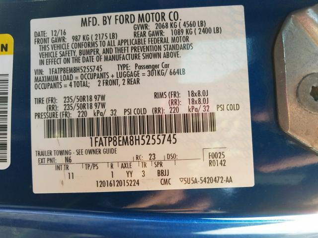 2017 FORD MUSTANG 1FATP8EM8H5255745