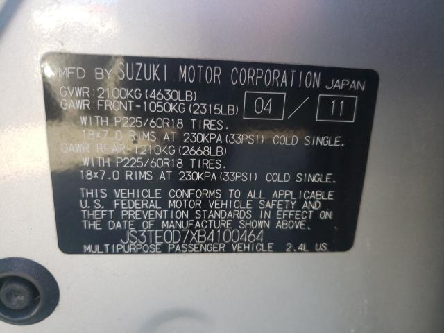 2011 SUZUKI GRAND VITA JS3TE0D7XB4100464